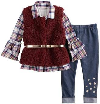 Little Lass Toddler Girl Plaid Ruffle Henley, Faux-Fur Vest & Jeggings Set