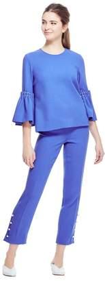 Lela Rose Wool Crepe Pearl Trim Tunic Top