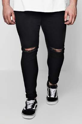 boohoo Big And Tall Super Skinny Ripped Knee Jeans