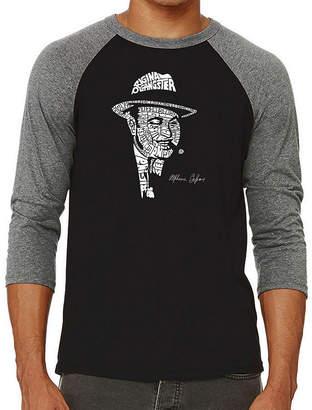 LOS ANGELES POP ART Los Angeles Pop Art Men's Raglan Baseball Word Art T-shirt - AL CAPONE-ORIGINAL GANGSTER