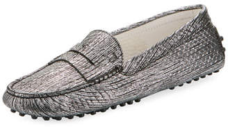 Tod's Gommini Metallic Scratch Leather Penny Loafer