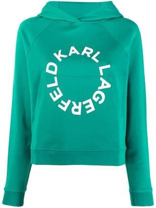 Karl Lagerfeld Paris cropped hoodie with circle logo
