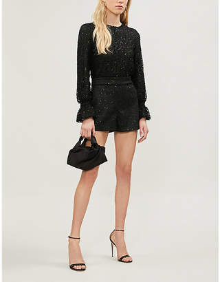 Maje Cutout-back sequin-embellished lace playsuit