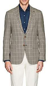Caruso MEN'S WINDOWPANE-PLAID WOOL THREE-BUTTON SPORTCOAT-BROWN SIZE 42 R