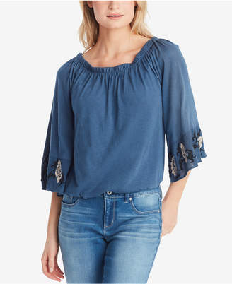Jessica Simpson Juniors' Arlene Embroidered Off-The Shoulder Blouse