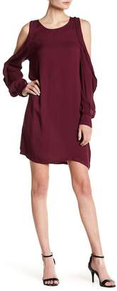 YFB Clothing Kaitlin Ruffle Cold Shoulder Keyhole Dress