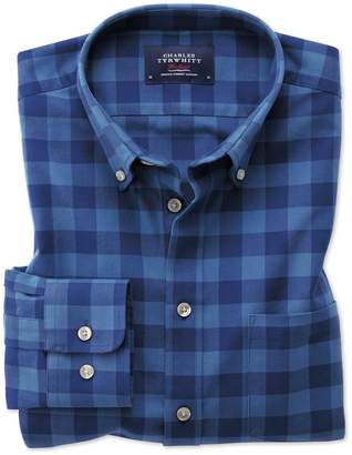 Charles Tyrwhitt Extra Slim Fit Button-Down Washed Oxford Blue Check Cotton Casual Shirt Single Cuff Size XS