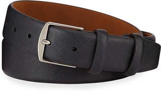 Neiman Marcus Saffiano Leather Double-Loop Belt