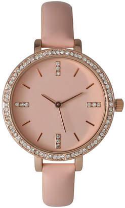OLIVIA PRATT Olivia Pratt Womens Rhinestone Bezel Rhinestone Dial Light Pink Leather Watch 15321