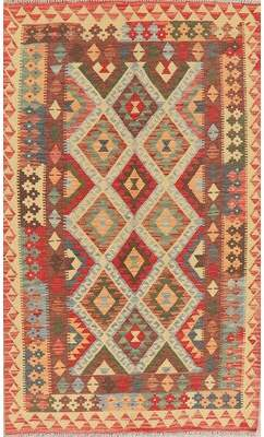 """Rugsource One-of-a-Kind Turkish Handwoven Flatweave 4'1"""" x 6'9"""" Wool Ivory Area Rug Rugsource"""