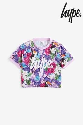 Hype Girls Floral Crop Tee - Purple