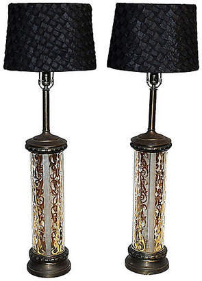 One Kings Lane Vintage Midcentury Cylindrical Table Lamps - Set of 2 - House of Charm Antiques
