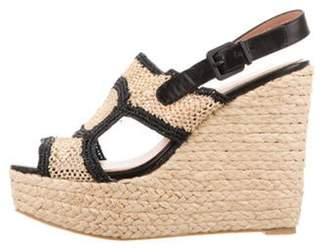 Clergerie Raffia Wedge Sandals Beige Raffia Wedge Sandals
