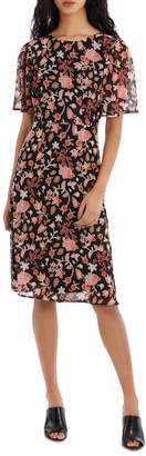 Basque Sunkissed Floral Midi Short Sleeve Dress