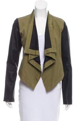 Patterson J. Kincaid PJK Leather-Accented Draped Jacket