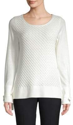 Honeycomb-Knit Cotton Sweater