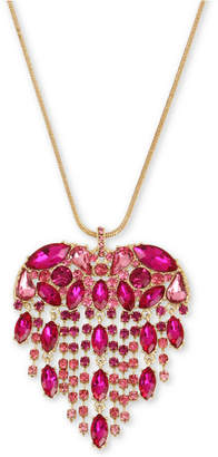 "Betsey Johnson Gold-Tone Crystal Fringe Heart Pendant Necklace, 32"" + 3"" extender"