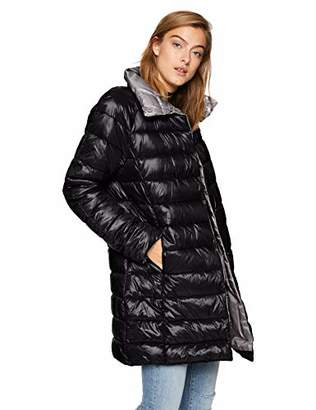 Kenneth Cole New York Women's Thigh Length Snap Puffer with Contrast Lining