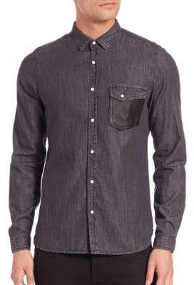 The Kooples Leather-Trim Denim Shirt