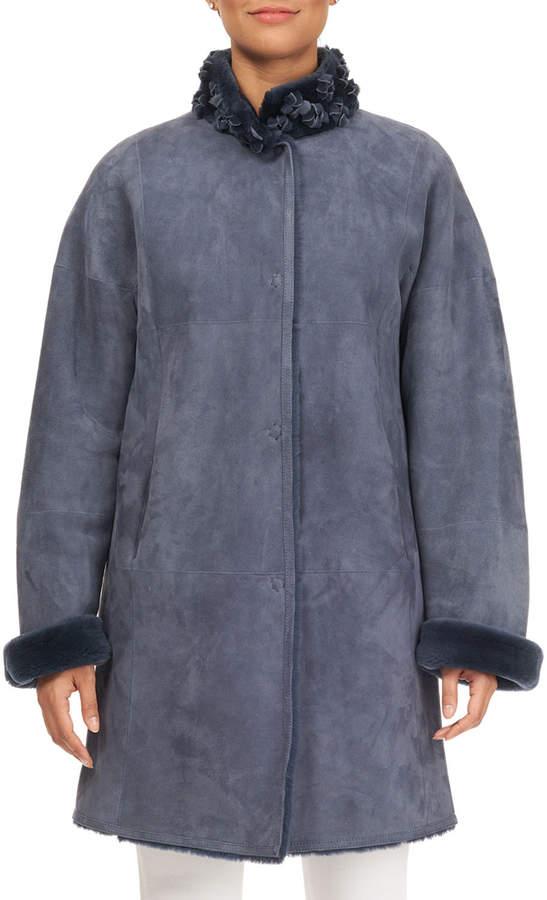 Christia Lamb Shearling Fur Stroller Coat with Floret Trim