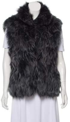 Adrienne Landau Mock Neck Fox Fur Vest