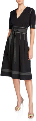 Veronica Beard Salome Pleated A-Line Belted Short-Sleeve Dress