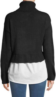 Nicole Miller New York Turtleneck Combo Sweater w/ Shirting Hem