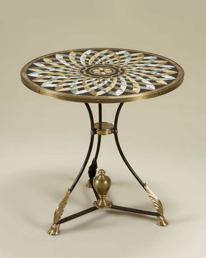 Maitland-Smith Round Stone Inlay Side Table