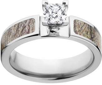 Mossy Oak Brush Camo 1 Carat T.G.W. Princess CZ in 14kt White Gold Prong Setting Cobalt Engagement Ring with Polished Edges and Deluxe Comfort Fit