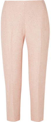 Lela Rose Sequined Tweed Slim-leg Pants - Pastel pink