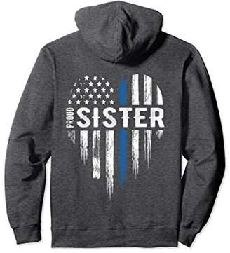 Thin Blue Line Heart Proud Sister Police Hoodie