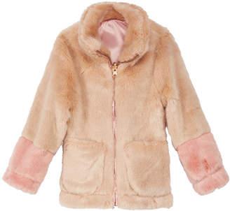 Jessica Simpson Little Girls Colorblocked Reversible Faux-Fur Jacket