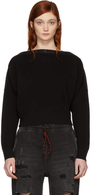 T by Alexander Wang Black Snap Detail Crop Off-the-Shoulder Sweater