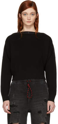 Alexander Wang Black Snap Detail Crop Off-the-Shoulder Sweater