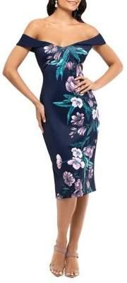 Xscape Evenings Floral Off-The-Shoulder Sheath Dress