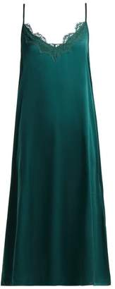Icons Art Cornflower Silk Slip Dress - Womens - Dark Green