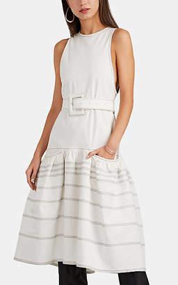 Proenza Schouler Women's Cotton Belted Drop-Waist Midi-Dress - White