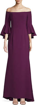 Vince Camuto Off-The-Shoulder Bell-Sleeve Flared Gown