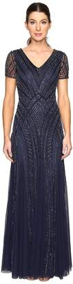 Adrianna Papell Short Sleeve Illusion Neck Beaded Gown Women's Dress