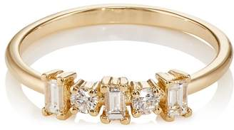 Ileana Makri Women's Round & Baguette White Diamond Band