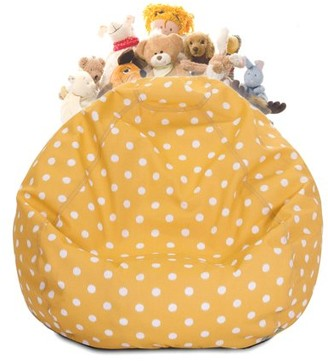Majestic Home Goods Ikat dot Stuffed Animal Toy Storage Bean Bag Chair with Transparent Mesh Base