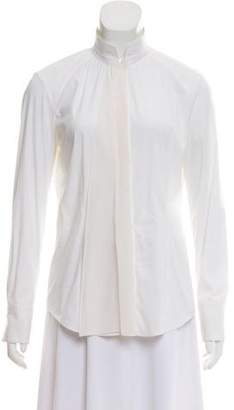 Brunello Cucinelli Ruffle-Accented Long Sleeve Button-Up