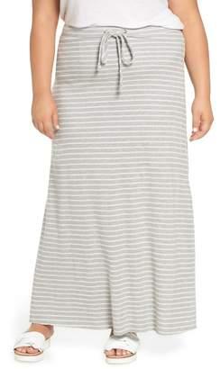 Caslon Stripe Knit Maxi Skirt (Plus Size)