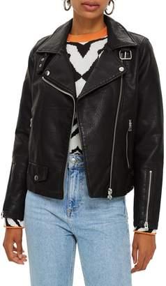 Topshop Leather Look Biker Jacket