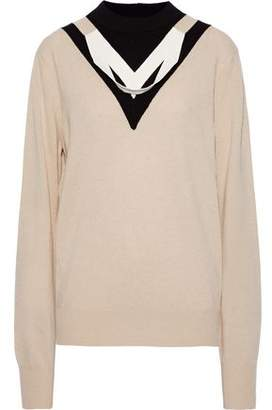 Helmut Lang Draped Intarsia Wool-blend Sweater