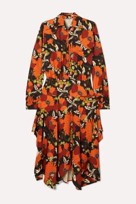 Dodo Bar Or Natasha Asymmetric Floral-print Jersey Midi Dress - Orange
