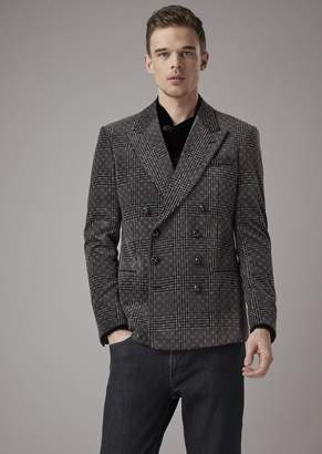 Giorgio Armani Double-Breasted Slim-Fit Jacket In Flocked Prince Of Wales Jersey