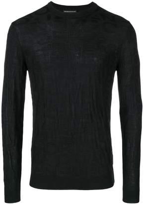 Emporio Armani embossed logo patterned jumper