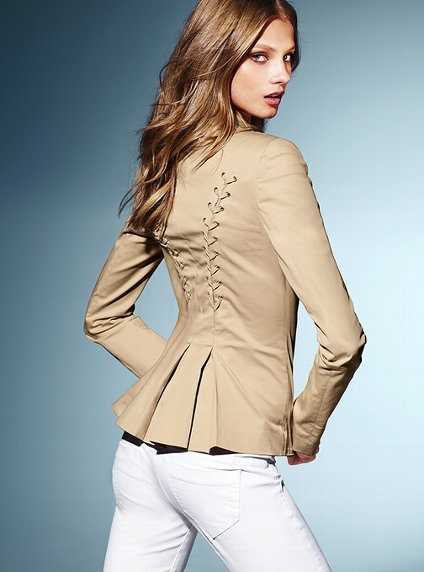 Lace-up Jacket in Stretch Cotton