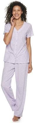 Croft & Barrow Petite Button-Front Pajama Shirt & Sleep Pants Set